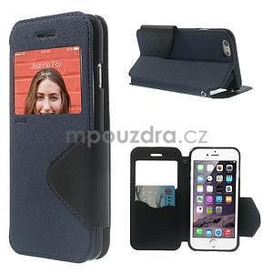 Peňaženkové puzdro s okienkom na iPhone 6 a 6s - tmavomodré - 1