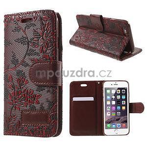 Elegantné kvetinové peňaženkové puzdro na iPhone 6 a 6s - červenohnedá - 1