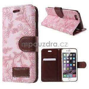 Elegantné kvetinové peňaženkové puzdro pre iPhone 6 a 6s - ružové - 1
