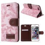 Elegantné kvetinové peňaženkové puzdro pre iPhone 6 a 6s - ružové - 1/7