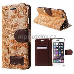 Elegantné kvetinové peňaženkové puzdro na iPhone 6 a 6s - oranžové - 1