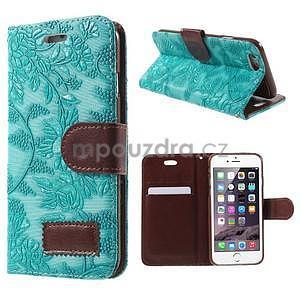 Elegantné kvetinové peňaženkové puzdro pre iPhone 6 a 6s - tyrkysové - 1