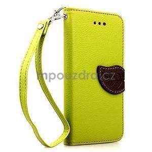 PU kožené peňaženkové puzdro pre iPhone 6s a 6 - zelene - 1