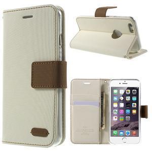 Peňaženkové koženkové puzdro na iPhone 6s a 6 - biele - 1