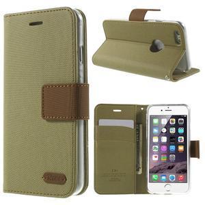 Peňaženkové koženkové puzdro na iPhone 6s a 6 - khaki - 1