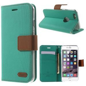 Peňaženkové koženkové puzdro na iPhone 6s a 6 - zelené - 1