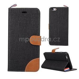 Látkové / koženkové peňaženkové puzdro na iphone 6s a 6 - čierne - 1