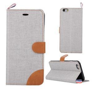 Látkové / koženkové peňaženkové puzdro pre iphone 6s a 6 - sivé - 1