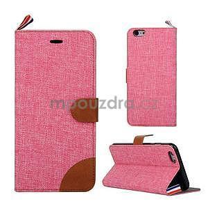 Látkové / koženkové peňaženkové puzdro pre iphone 6s a 6 - ružové - 1