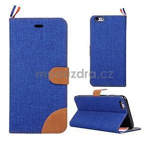Látkové / koženkové peňaženkové puzdro na iphone 6s a 6 - modré - 1