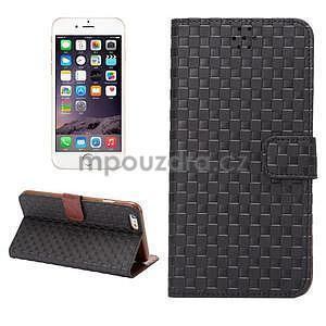 Mriežkovaného koženkové puzdro pre iPhone 6 a iPhone 6s - čierne - 1