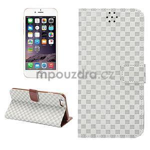 Mriežkovaného koženkové puzdro na iPhone 6 a iPhone 6s - biele - 1