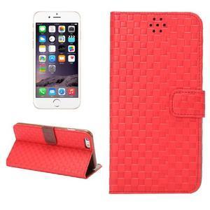 Mriežkovaného koženkové puzdro pre iPhone 6 a iPhone 6s - červené - 1