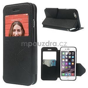 Peňaženkové puzdro s okienkom na iPhone 6 a 6s - čierne - 1