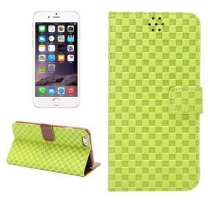 Mriežkovaného koženkové puzdro na iPhone 6 a iPhone 6s - zelené - 1