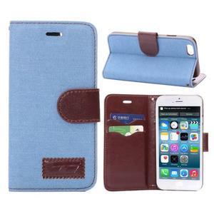 Jeans látkové/pu kožené peňaženkové puzdro na iPhone 6 a 6s - svetlomodré - 1
