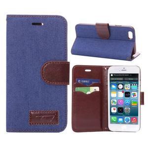 Jeans látkové/pu kožené peňaženkové puzdro pre iPhone 6 a 6s - modré - 1