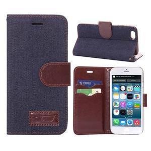 Jeans látkové/pu kožené peňaženkové puzdro na iPhone 6 a 6s - tmavomodré - 1