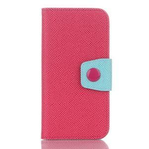 Dvojfarebné peňaženkové puzdro pre iPhone 6 a iPhone 6s - rose/cyan - 1