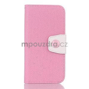 Dvojfarebné peňaženkové puzdro pre iPhone 6 a iPhone 6s - ružové/biele - 1