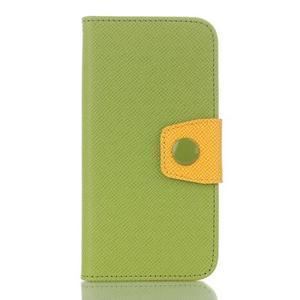 Dvojfarebné peňaženkové puzdro pre iPhone 6 a iPhone 6s - zelené/ žlté - 1