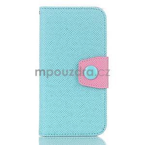 Dvojfarebné peňaženkové puzdro pre iPhone 6 a iPhone 6s - cyan/ružové - 1