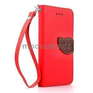PU kožené peňaženkové puzdro pre iPhone 6s a 6 - červené - 1