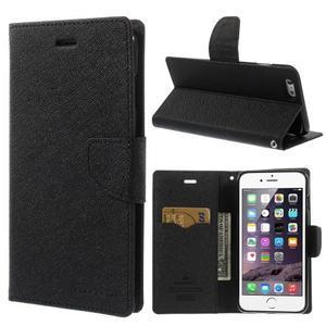 Peňaženkové puzdro pre iPhone 6 Plus a 6s Plus - čierne - 1