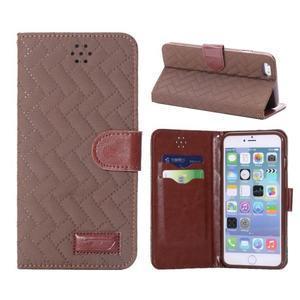 Elegantné peňaženkové púzdro pre iPhone 6 Plus a 6s Plus - hnedé - 1