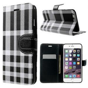 Kárované peňaženkové puzdro na iPhone 6 Plus a 6s Plus - čiernobiele - 1