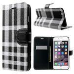 Kárované peňaženkové puzdro pre iPhone 6 Plus a 6s Plus - čiernobiele - 1/3