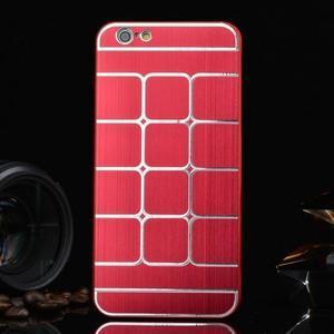 Štýlový kryt s kovovými chrbtom pre iPhone 6 Plus a 6s Plus - červený - 1
