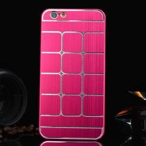 Štýlový kryt s kovovými chrbtom pre iPhone 6 Plus a 6s Plus - rose - 1
