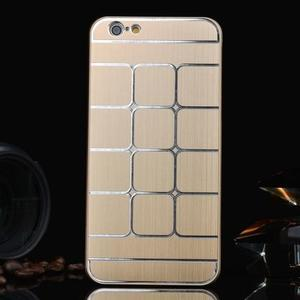 Štýlový kryt s kovovými chrbtom pre iPhone 6 Plus a 6s Plus - champagne - 1