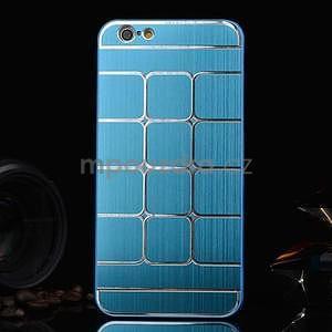 Štýlový kryt s kovovými chrbtom pre iPhone 6 Plus a 6s Plus -  modrý - 1