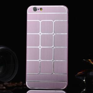 Štýlový kryt s kovovými chrbtom pre iPhone 6 Plus a 6s Plus - ružový - 1