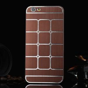 Štýlový kryt s kovovými chrbtom pre iPhone 6 Plus a 6s Plus - hnedý - 1