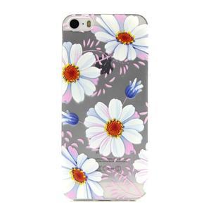Transparentný gélový obal pre mobil iPhone SE / 5s / 5 - kvetinky - 1
