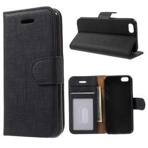 Cloth PU kožené puzdro pre iPhone SE / 5s / 5 - čierne - 1