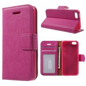 Cloth PU kožené puzdro pre iPhone SE / 5s / 5 - rose - 1