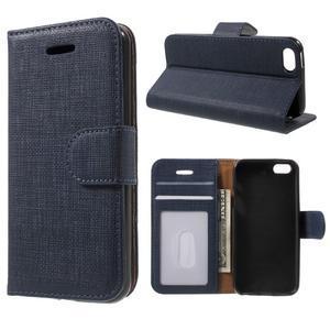 Cloth PU kožené pouzdro na iPhone SE / 5s / 5 - tmavěmodré - 1