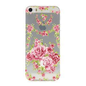 Transparentný gélový obal pre mobil iPhone SE / 5s / 5 - ruže - 1