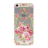Transparentní gelový obal na mobil iPhone SE / 5s / 5 - růže - 1/4