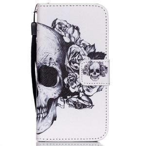 Peněženkové pouzdro na mobil iPhone SE / 5s / 5 - lebka - 1