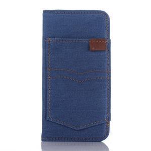 Jeans peněženkové pouzdro na mobil iPhone SE / 5s / 5 - modré - 1