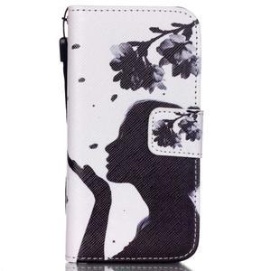 Peňaženkové puzdro pre mobil iPhone SE / 5s / 5 - dievča s kvetinou - 1