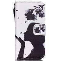Peňaženkové puzdro pre mobil iPhone SE / 5s / 5 - dievča s kvetinou - 1/7