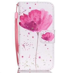 Peňaženkové puzdro pre mobil iPhone SE / 5s / 5 - makový kvet - 1