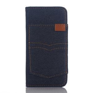 Jeans peňaženkové puzdro pre mobil iPhone SE / 5s / 5 - tmavomodré - 1