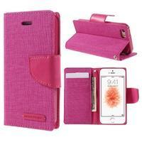 Canvas PU kožené/textilní pouzdro na mobil iPhone SE / 5s / 5 - rose - 1/7